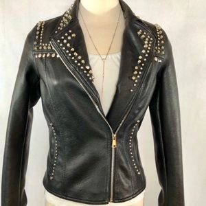 Beulah Black Studded Faux Leather Jacket